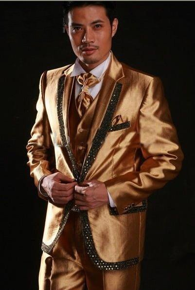 golden colours 2012 New Men Wedding/Prom Clothing Groom Tuxedos Wear Bridegroom Suit (Clothes+Pants)  custom-made