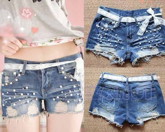 Good Quality Fashionable Style Lace Lacing Denim shorts HR223