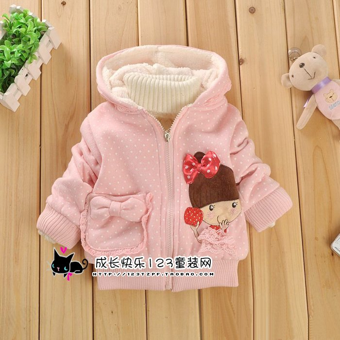 Good quality/kids jacket Children's cartoon fawn cashmere winter coat sleeve fashioncoat girl's coat baby jacket