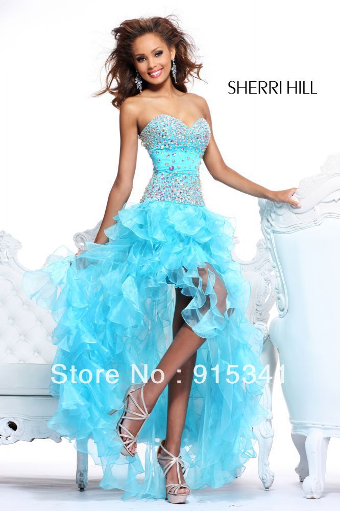 Gorgeous A-line Sweetheart Ice Blue Organza Beaded Asymmetric Prom Dresses 2013