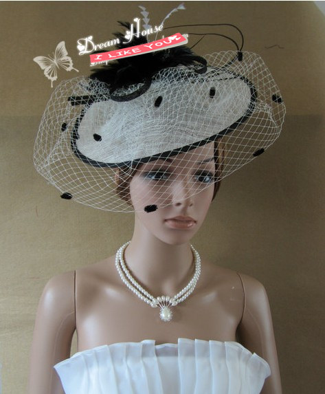 Gorgeous Kate's Hat Tulle Linen With Feather  Wedding Hat/Ball hat/Headpiece/Carnival Hat XBC-D355 Free Shipping