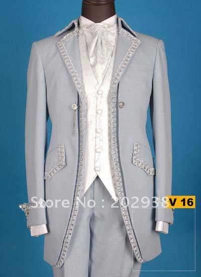 gray lace 5piece set (Jacket,Pants,bowknot,belt ,vest )groom tuxedos NO:V 16 mix style order.