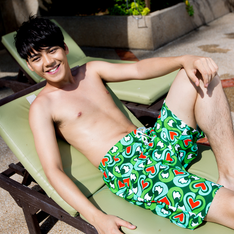 Green heart male pants beach trunks lovers design female swimwear
