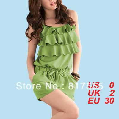 Green Ruffled Front Sleeveless Drawstring Waist Romper Jumpsuit XS for Women