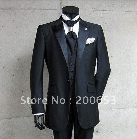 Groom Tuxedos Best man Suit Wedding Groomsman/Men Suits Bridegroom (Jacket+Pants+Tie+Vest) A113
