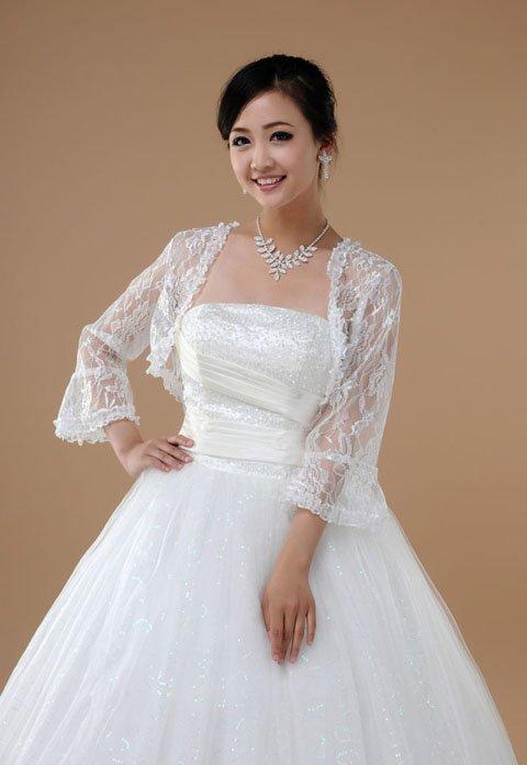 H0046 bride wedding dress horn sleeve yarn lace wrap