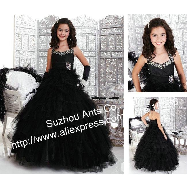 Halter Beaded Girls Ball Gown 2013 Design Ruffle Children Black Communion Dress Tulle FL196