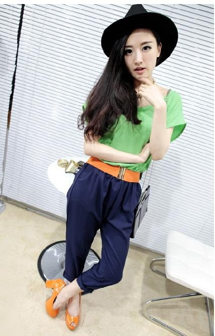 Han edition dress joining together with reasonable spins loose short sleeve leisure conjoined twins pants garments