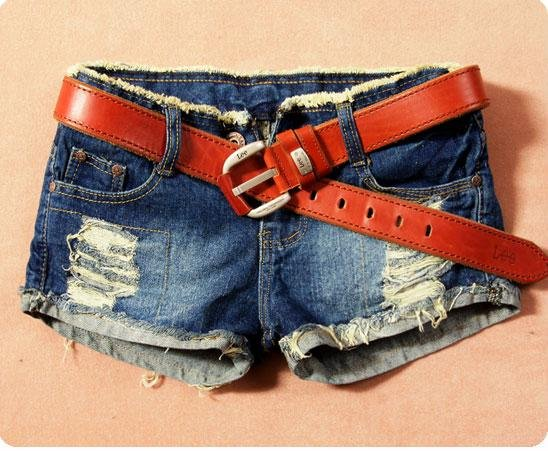 Han edition grinding the hole flanging edge cultivate one's morality bull-puncher knickers female flash hot pants female