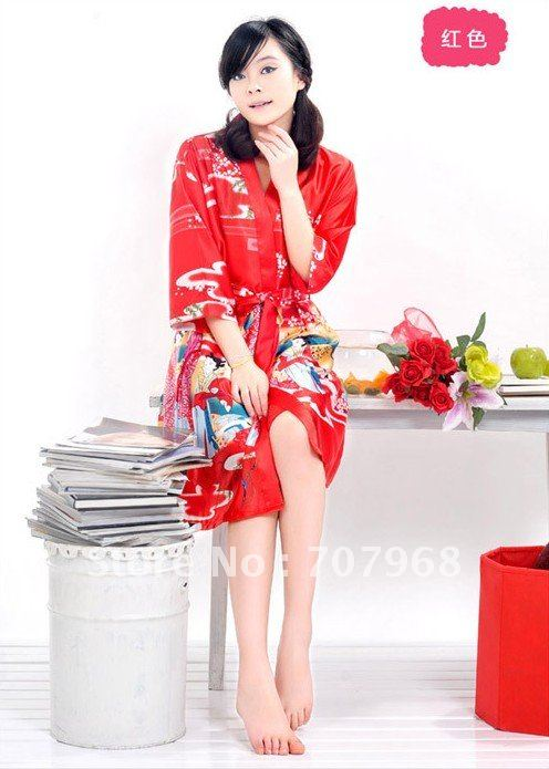 Han edition sexy emulation silk condole belt nightgown two pieces HuaYu beauty lovely pajamas female