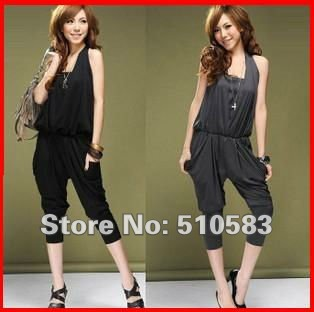 Haren pants Jumpsuit pants trousers summer 2012new black and grey women's dress Free shipping
