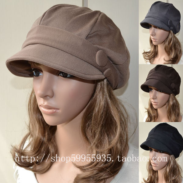 Hat female spring and autumn winter small soft double buckles fashion cap octagonal cap newsboy cap 2012 new arrival
