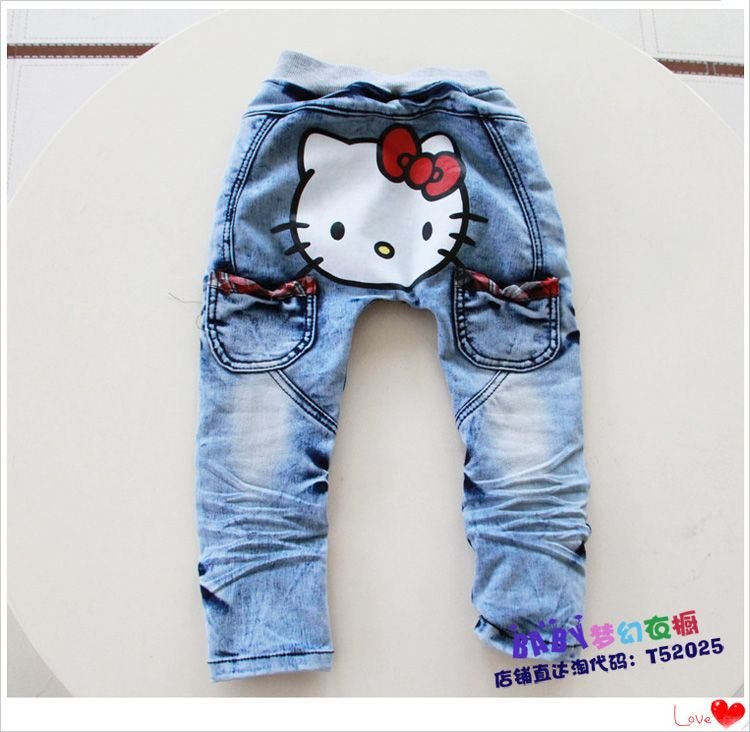 hello kitty jeans baby girl cartoon jeans pant export high quality Children middle pant leggings 5 size free shipping