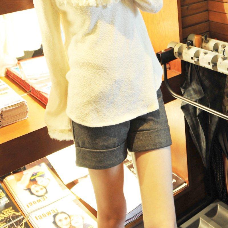 high quality all-match straight roll up hem woolen gray boot cut  suit womens shorts 711810 PL12053003