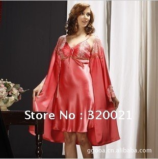 High quality and fashion sexy woman silk condole belt pajamas nightgown two-piece outfit