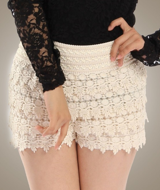 High Quality Beige Womens Sweet Cute Crochet Tiered Lace Layer Knitted Froral Skirt shorts/pants