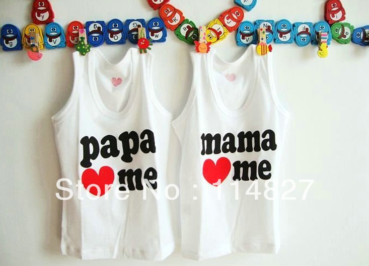 high quality,factory price,New papamama love me baby tank tops for summer 1-4years children tops,8pcs/lot,