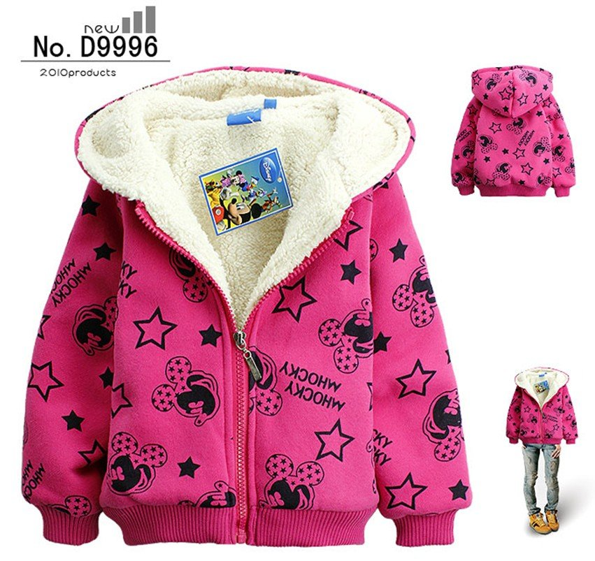 High quality!! Retail Girl cartoon outerwear,Cute Minnie Cashmere Hoodies, Winter thick coat,children sweatshirt, free shipping