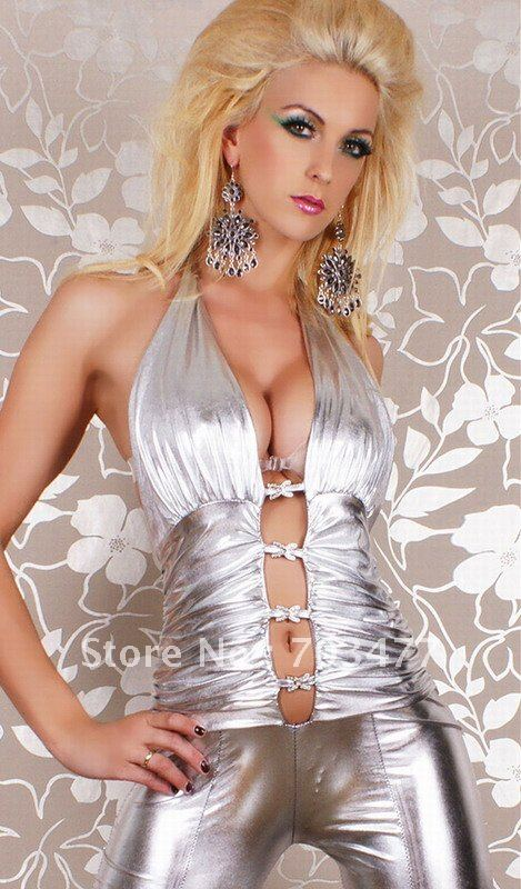High quality silver backless sexy leather lingerie sleeveless jumpsuit blackless sexy lingerie wholesale and retail W7923A