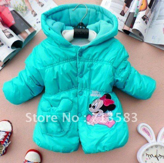 High quality winter children Coats ,New style  girl's coat, mickey long sleeve even cap coat. Baby clothes,4 pcs/lot