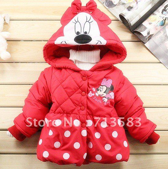 High quality winter children Coats,New style red colors Minnie long-sleeved coat girl's keep warm coat ,4 pcs/lot