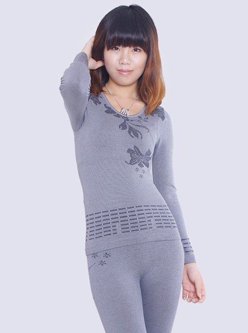 High Quality Women Bamboo Charcoal Fiber Seamless Slimming Thermal Underwear Suit,Free Shipping