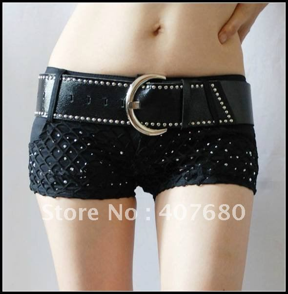 high quality women's fashion sexy nightclub hot shorts low waist with belt rivet rhinestone decorate ds street dancing shorts.
