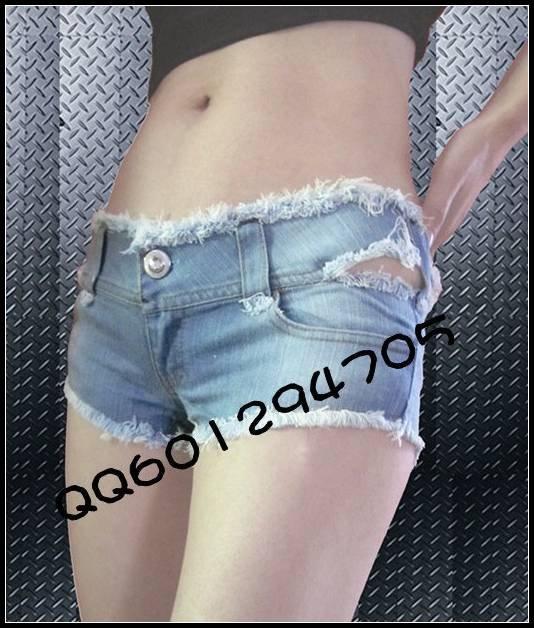 high quality women's sexy low waist hot shorts nightclub deckle edge light blue Denim Shorts cotton ds Costume