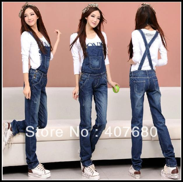 high quality womens blue denim jumpsuit casual cotton overalls suspenders straight trousers rip decorate low waist free shipping