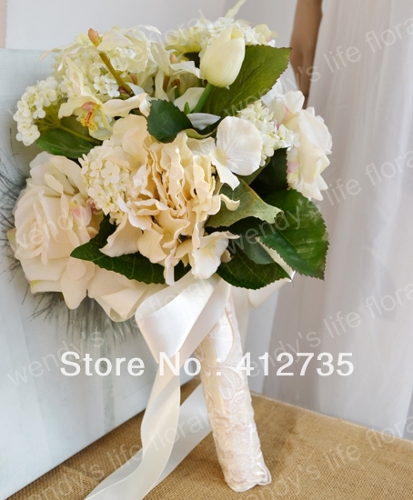 High simulation white rose bouquets bride wedding bouquet  photography props