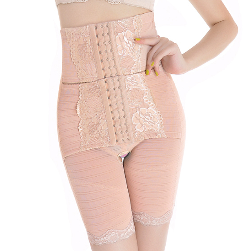 High waist abdomen drawing butt-lifting pants beauty care body shaping pants double drawing abdomen pants body shaping
