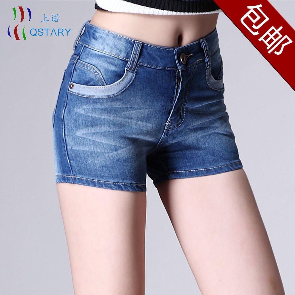 High waist denim shorts 2012 women's plus size jeans mm blue shorts women denim shorts, Free Shipping!
