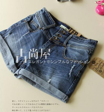 high waist denim shorts for women three hole button women jeans shorts comfortable fabrics 2013 fashion free shipping