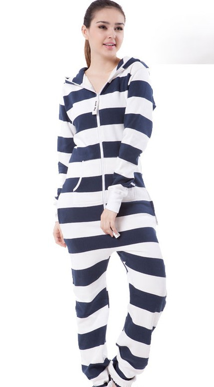 Hight Quality! Blue & White Striple Jumpsuit  / Adult Fleece Hoodies / Oversize / Unisex Style+ Fedex Free Shipping  E300-58