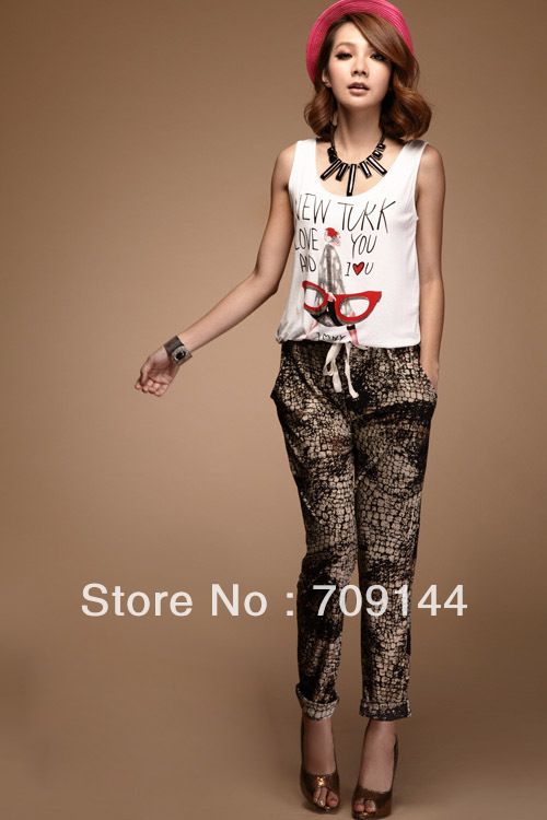 HK Free Shipping Europe style Personalized Doodle Serpentine Pattern Street Long Jumpsuit  Women