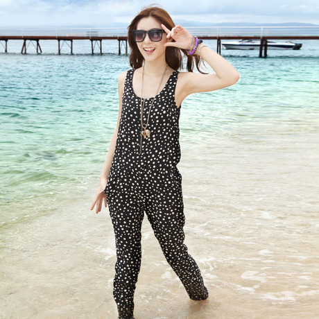 Holiday beach pants , The summer women strap Siamese pants , Jumpsuits & Rompers
