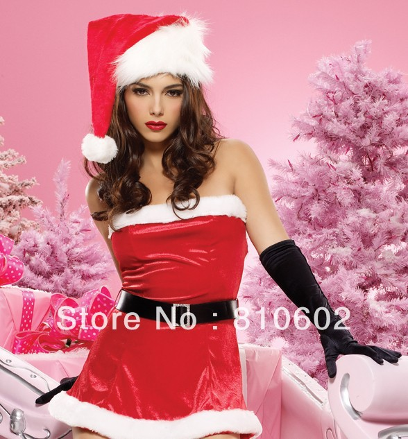 holiday sale-2012 Fashion Red Sexy Lingerie Costume Pajamas underwear Sleepwear Robe and  hats+dress, fancy dress free shipping