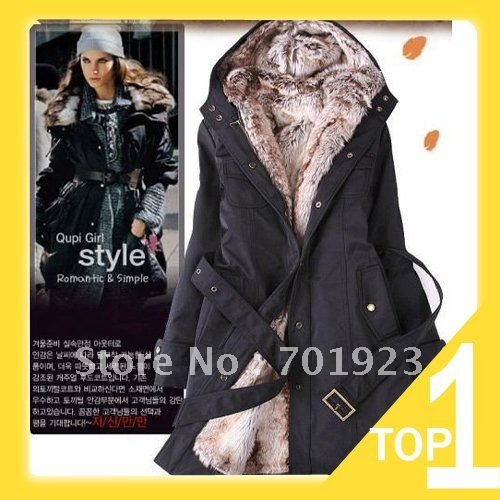 Holiday Sale 2013 Faux fur lining women's  winter warm long fur coat jacket clothes wholesale Free Shipping Y0749