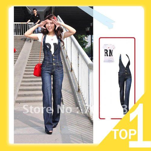 Holiday Sale 2013 New Arrival Free shipping new Siamese jeans, high waist and loose suspenders jeans romper Y2432