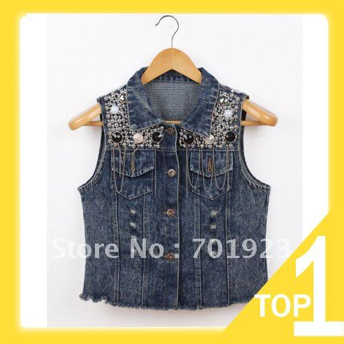 Holiday Sale 2013 New Womens Vintage Washed Blue Denim Sequin embellish Jean Vest Sleeveless Jacket free shipping Y3944
