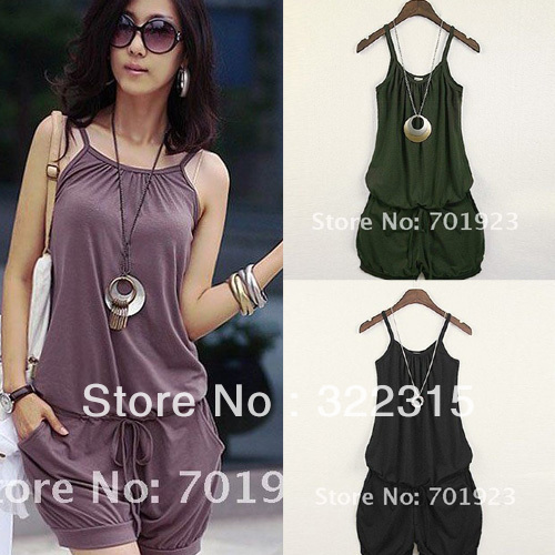 Holiday Sale 2013 Women Fashion Sleeveless Romper Strap Short Jumpsuit Scoop 3 Colors Free Shipping Y2003