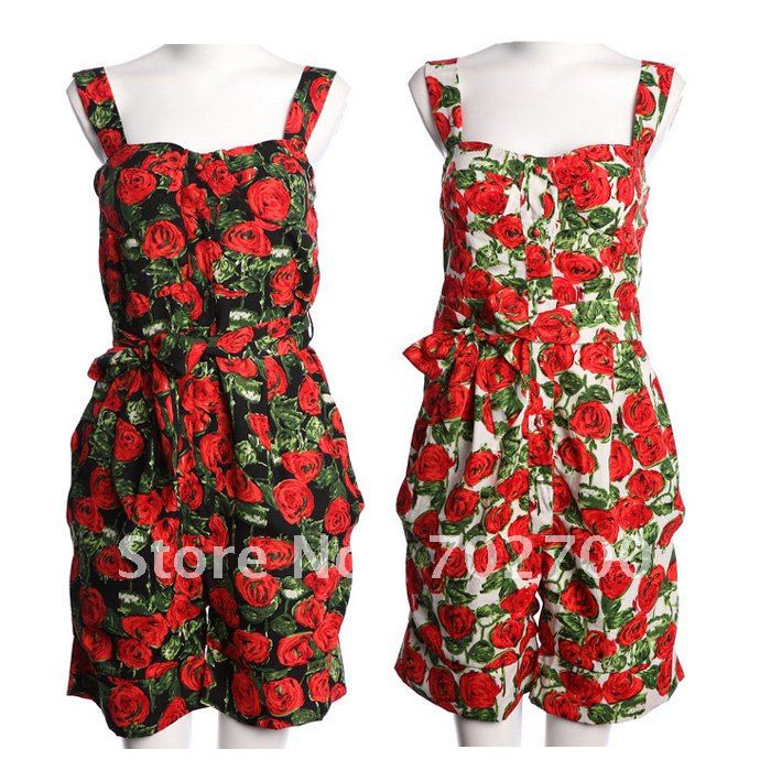 Holiday Sale Free Shipping! 2013 Autumn Winter Fashion Vintage Free Sashes Printed Sexy Suspender Jumpsuit Women