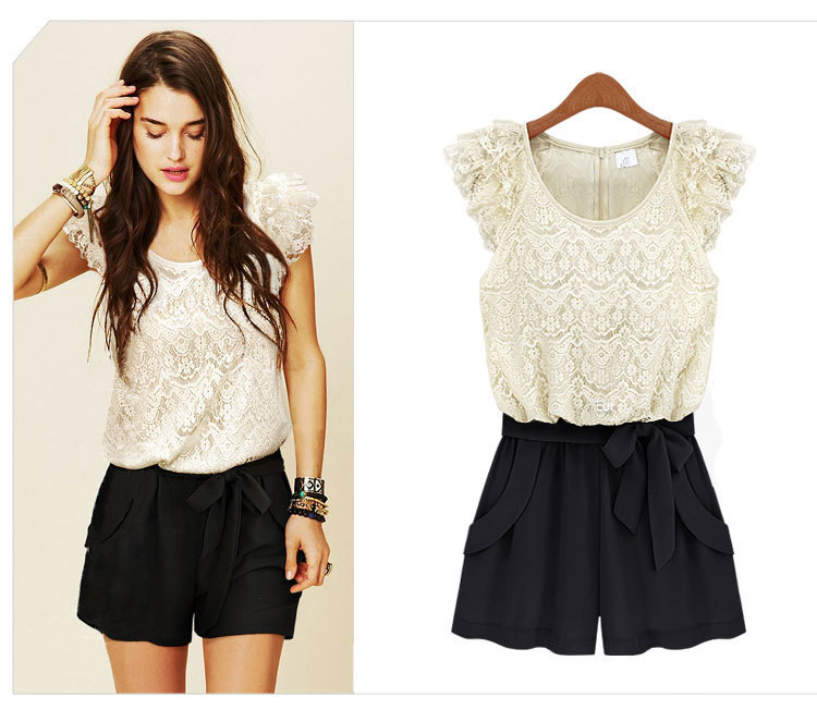 Holiday Sale Free shipping 2013 lace ruffle sleeve jumpsuits overall,women shorts DYQ