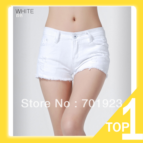 Holiday Sale Free shipping 2013 women white summer denim short wahsed destroyed hot Clubwear short Y6162