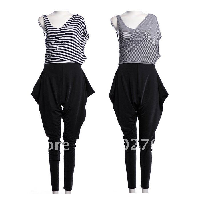 Holiday Sale Free Shipping! Autumn Winter New Fashion Personalized Haren Coveralls Pants Stripe Patchwork Women Jumpsuits