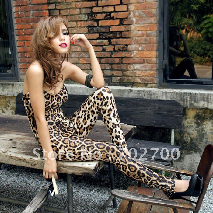 Holiday Sale Free Shipping Sexy Design Leopard wild nature display body curve Corset Backless Sheath Jumpsuits Rompers K247