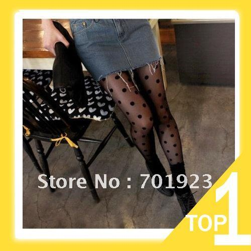 Holiday Sale Sexy Fashion Women's Lady's lace Big Dot Leggings Pants Pantyhose Slimming Solid Tights Socksfree shipping Y2731