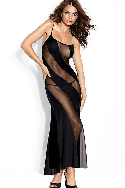 Hot and Sexy Women Bias-cut Mesh Illusion Gown Black S6125