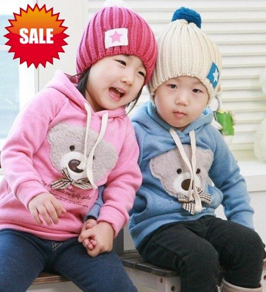 HOT children kids fashion hoodies Sweatershirts baby teddy bear coat top baby Clothes wear cotton free shipping