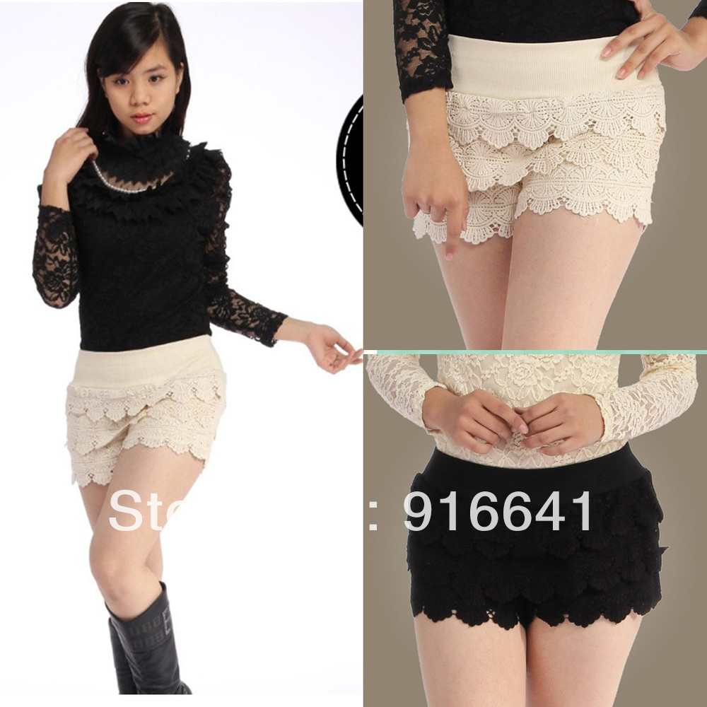 Hot Fashion  Womens Tiered Girdle Waistband Lace Flower Knit Crochet Mini Shorts Pants